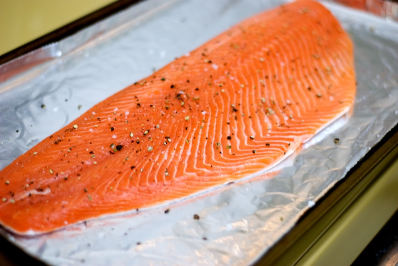 Crispy baked salmon with sweet hot mustard the weekend for How to cook salmon fish