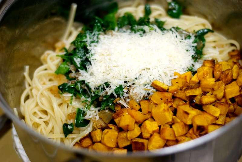 Kitchen Firsts Pasta With Butternut Squash Spinach And border=
